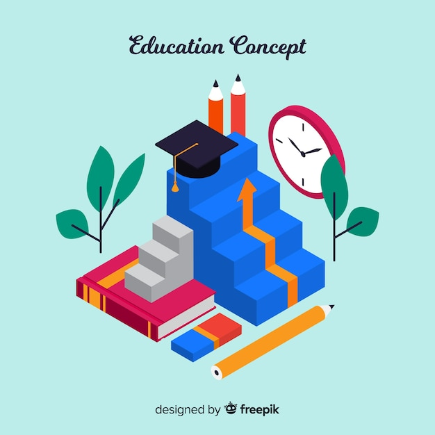 Isometric education background Free Vector