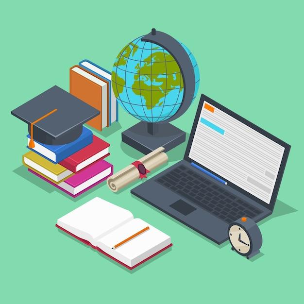Концепция изометрического образования. 3d обратно в школу фон в плоский. предметный карандаш, элемент для урока, книга и ноутбук Бесплатные векторы