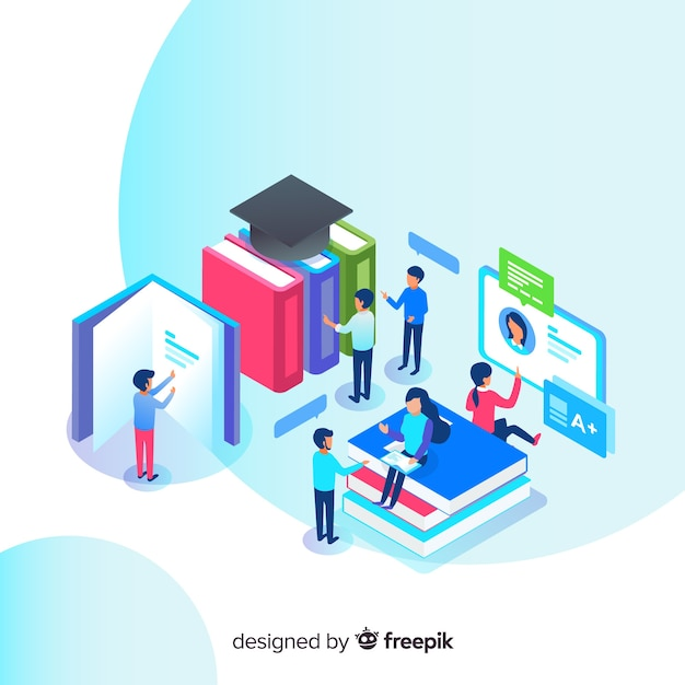 Isometric education concept Free Vector