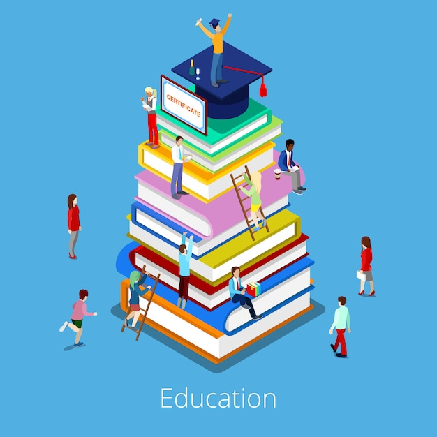 Isometric education graduation concept with stack of books and students. Premium Vector
