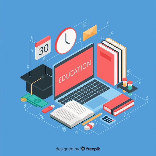 Isometric education illustration Free Vector