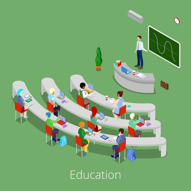 Isometric educational process. flat 3d university lecture room with teacher and students. Premium Vector