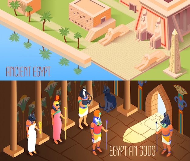 Isometric egypt banners Free Vector