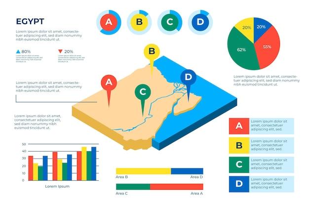 Изометрические карта египта инфографики Premium векторы