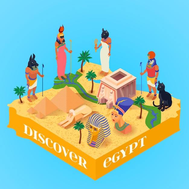 Isometric egypt poster Free Vector