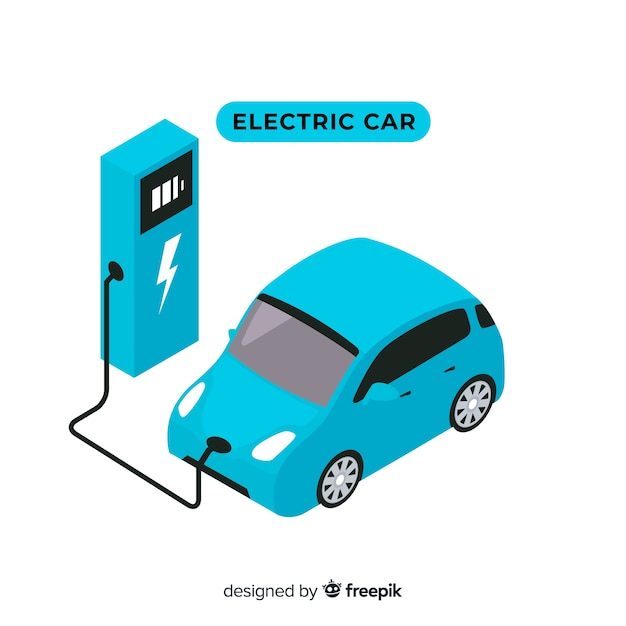 Isometric electric car Free Vector
