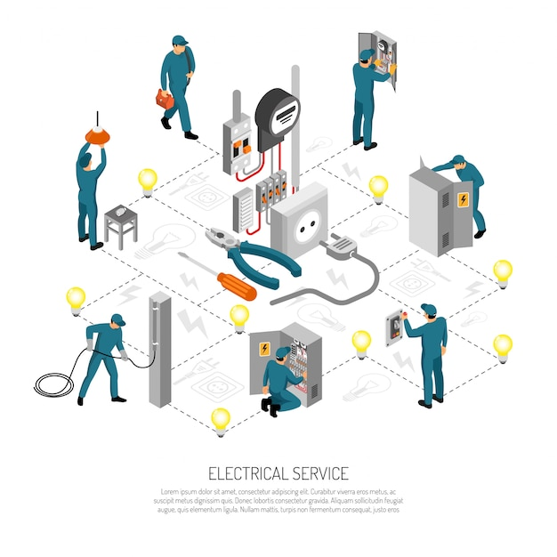 Isometric electrician people composition with linesmen doing various works vector illustration Free Vector