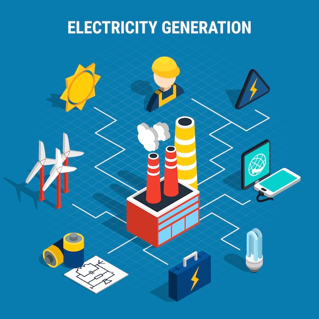 Isometric electricity composition Free Vector