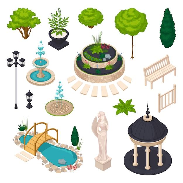 Elementi isometrici per il paesaggio della città Vettore gratuito