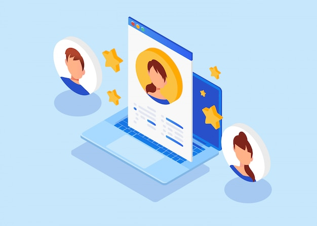 Isometric employment, recruitment, job interview for web page, banner. Premium Vector