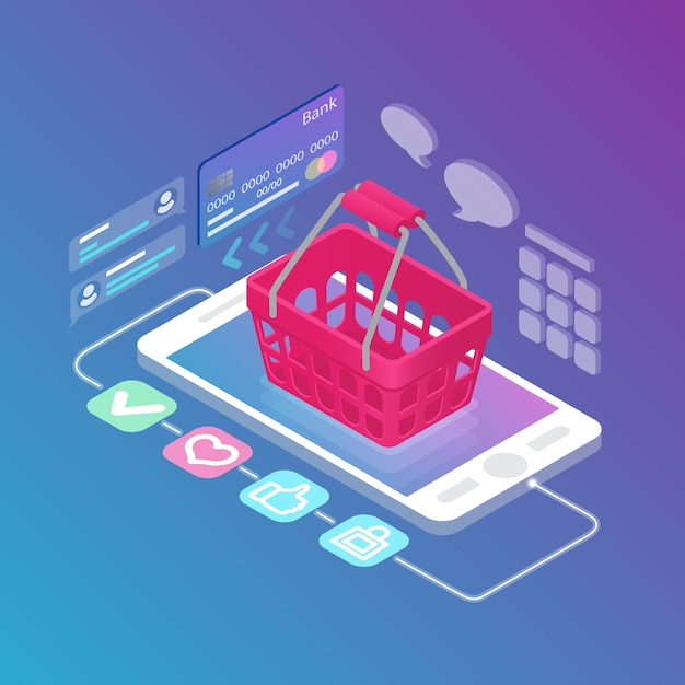 Isometric empty shopping basket on gadget Free Vector