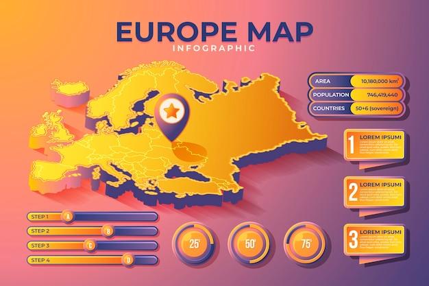 Mappa isometrica europa infografica Vettore gratuito