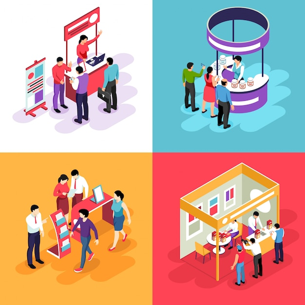 Isometric expo design concept with s of exhibit stands and people characters looking into exhibition booths Free Vector