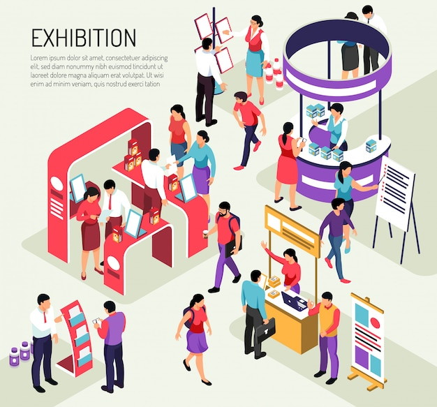 Isometric expo exhibition composition  with editable text description and colourful exhibit stands crowded with people Free Vector
