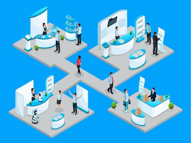 企業がプロモーションスタンドと分離されたデモンストレーション機器を使用して製品を宣伝する等尺性expocenterコンセプト Premiumベクター