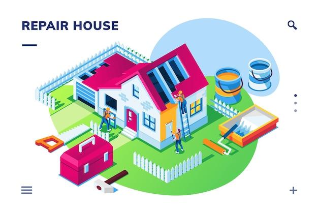 家の修理や家の改修で等尺性の外観 Premiumベクター