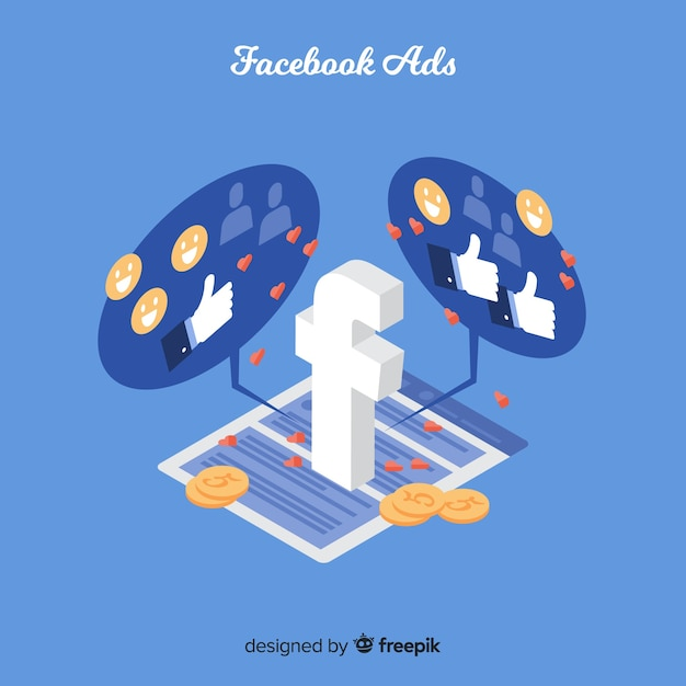 Isometric facebook ads background Free Vector