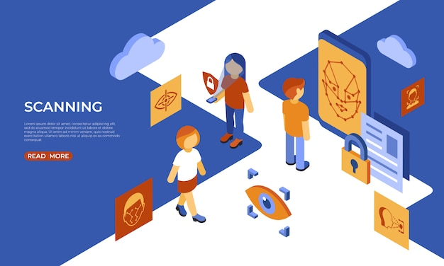 Isometric facial recognition and scanning technology infographics Premium Vector