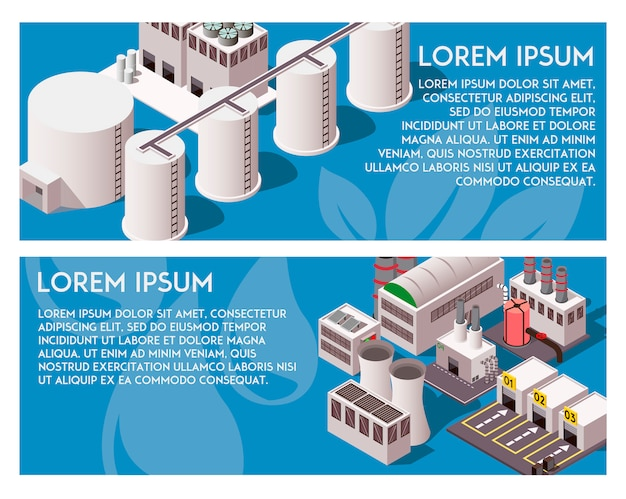 Isometric factory banners Free Vector
