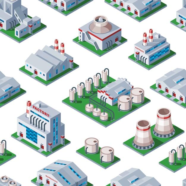 Изометрические фабрика здание бесшовный фон фон промышленный элемент склад архитектура дом иллюстрация Premium векторы