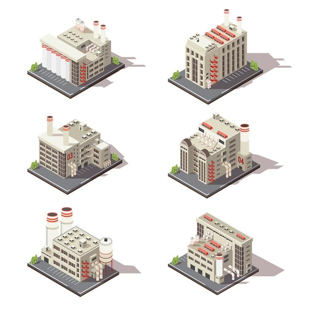 Изометрические заводской набор Бесплатные векторы