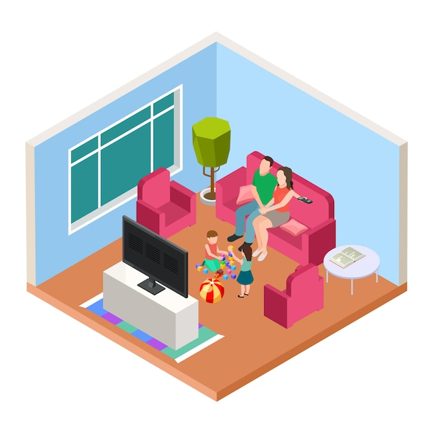 Isometric family time. vector parents and kids watching tv and playing. happy parenthood illustration Premium Vector