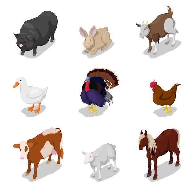 牛、ウサギ、馬、ガチョウと等尺性の農場の動物セット。ベクトル3 dフラットイラスト Premiumベクター
