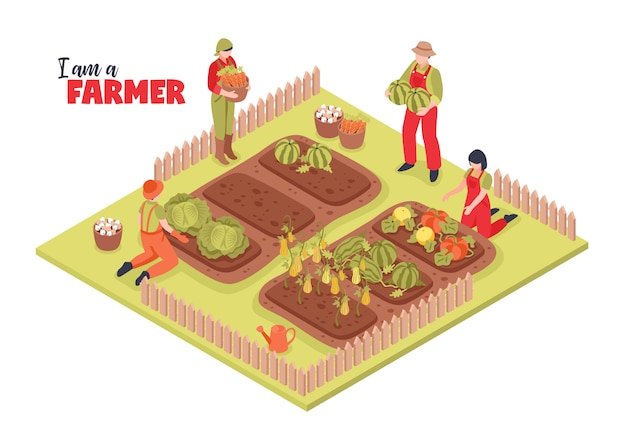 Isometric farm and farmers illustration Free Vector