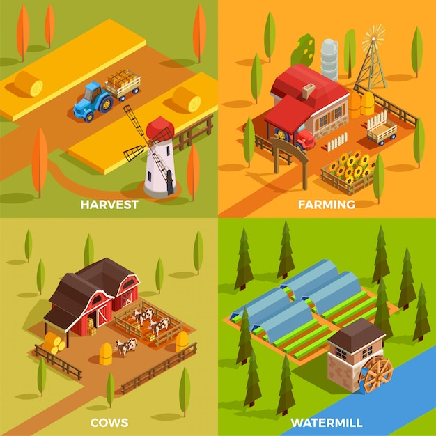 Isometric farm scene collection Free Vector