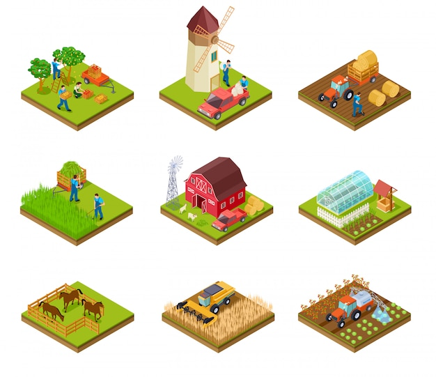 Isometric farm set Premium Vector