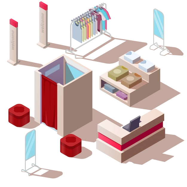 Isometric fashion store in shopping mall Free Vector