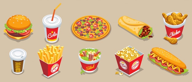 Isometric fast food collection with different products and drinks Free Vector