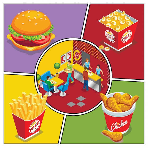 Isometric fast food colorful composition with burger popcorn bucket chicken legs french fries people eating in fastfood restaurant Free Vector