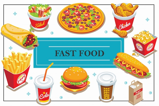 Isometric fast food composition with coffee and cola cups doner pizza salad popcorn bucket hot dog burger french fries chicken legs Free Vector