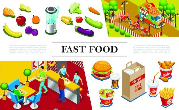 ファーストフードのレストランのハンバーガーチキンの足のフライドポテトサラダコーラコーヒー果物野菜フードトラックで食べる人と等尺性のファーストフードの組成 Premiumベクター