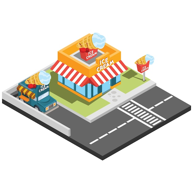 Isometric fast food places Premium Vector