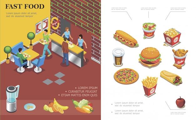Composizione isometrica nel ristorante degli alimenti a rapida preparazione con la gente che mangia in hot dog del doner dell'insalata del popcorn dell'insalata delle patatine fritte della pizza dell'hamburger della tazza di caffè del caffè Vettore gratuito