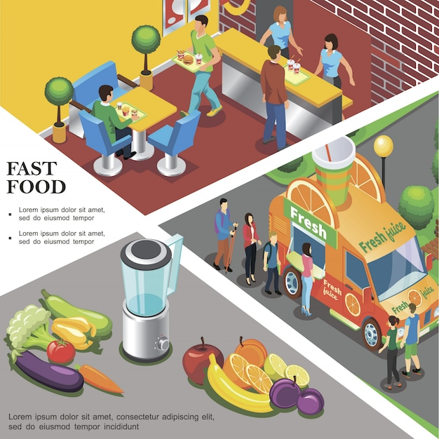 Modello di fast food isometrica con frutta fresca e verdura del ristorante fast food di camion di strada di succo fresco Vettore gratuito