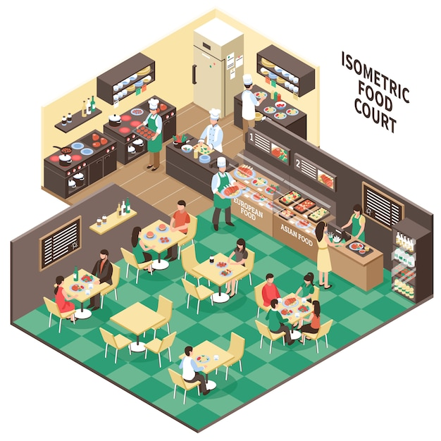 Isometric fastfood restaurant interior Free Vector