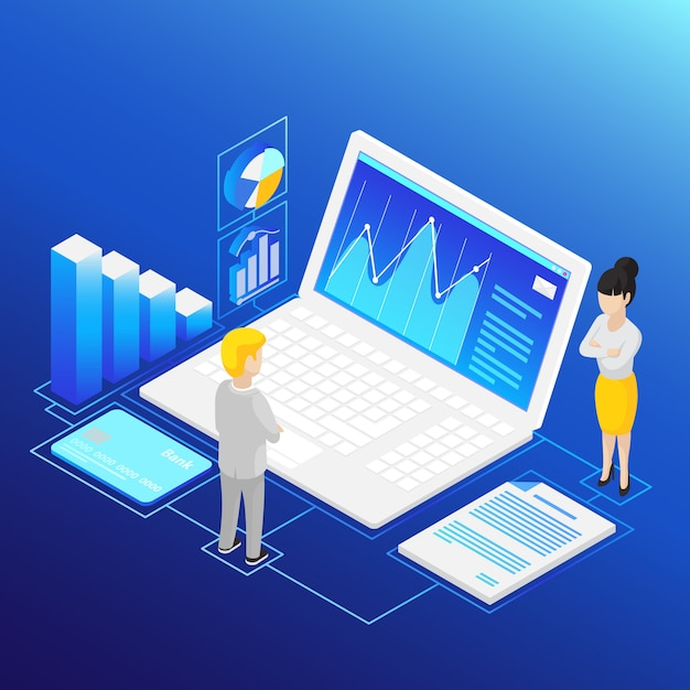Isometric financial analysis Free Vector