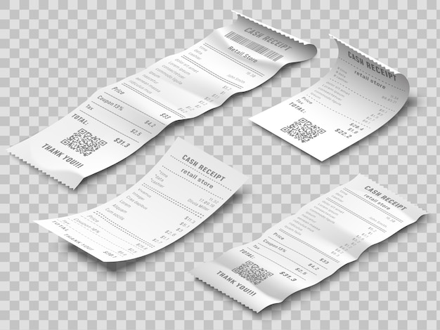 Isometric financial check. payment checks, thermal printed rolled paper receipt and payments receipts isolated realistic 3d vector set Premium Vector