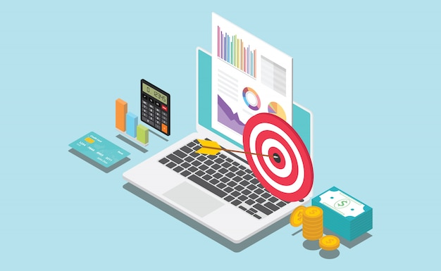 Isometric financial company or personal target Premium Vector