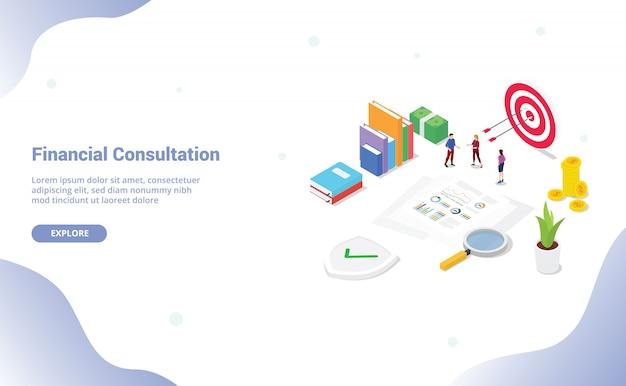 チームの人々とウェブサイトのテンプレートまたはランディングホームページのドキュメントと等尺性金融相談レポート分析 Premiumベクター