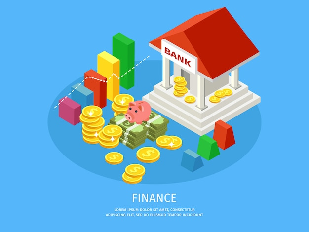 Isometric financial elements concept Free Vector