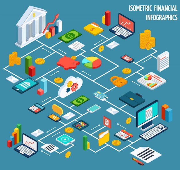 Isometric Financial Flowchart Vector Free Download