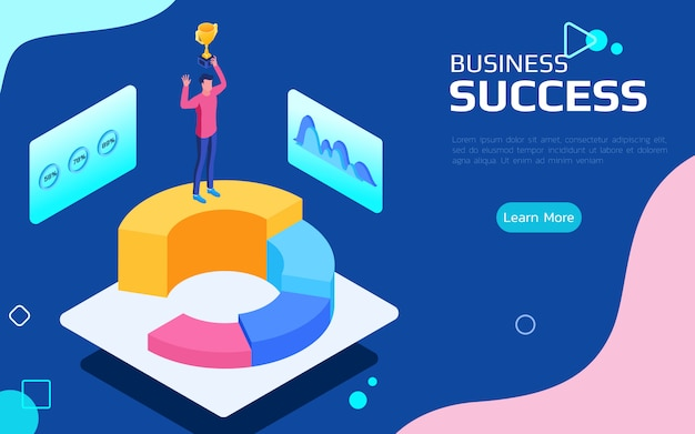 Isometric financial success concept. Premium Vector