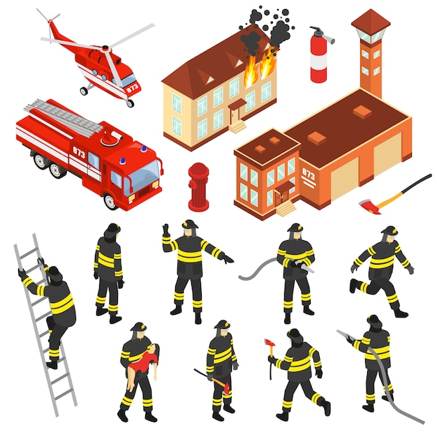 Isometric fire department icon set Free Vector