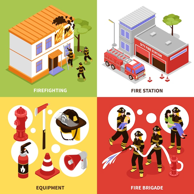 Isometric firefighter 2x2 concept Free Vector
