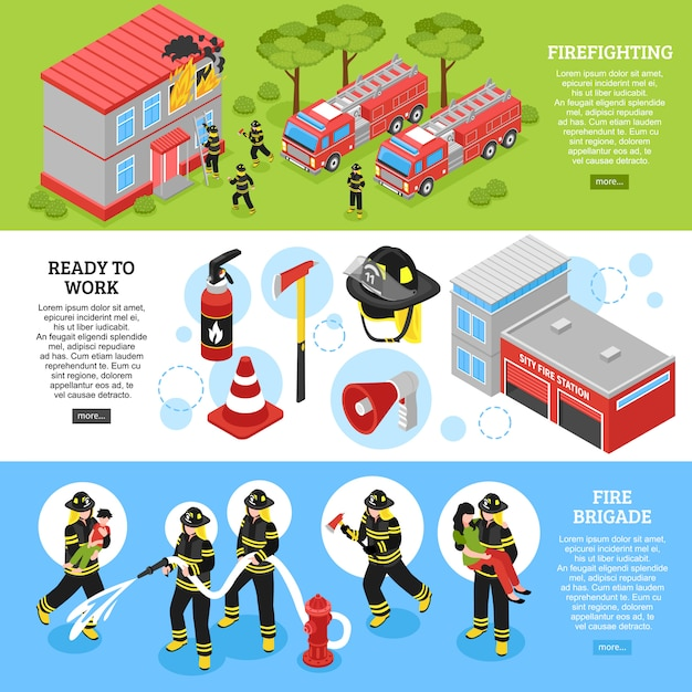 Isometric firefighter banners Free Vector