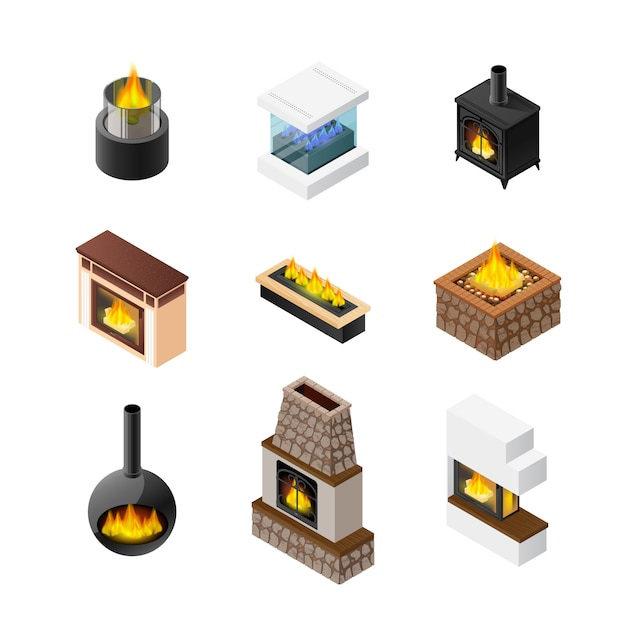Isometric fireplace icon set Free Vector